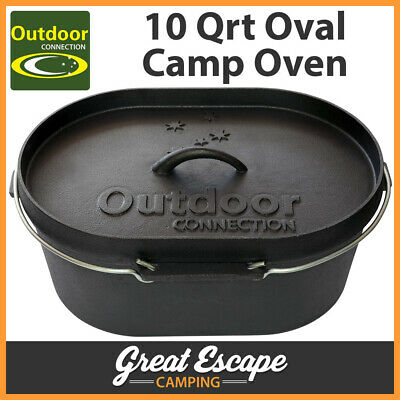 Outdoor Connection Cast Iron 10 Quart Oval Camp Oven. Heady Duty Quality