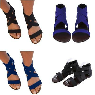 Summer Gladiator Sandals Womens Elastic Ankle Strap Flat Beach Shoes Flip Flops