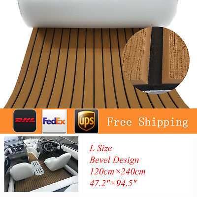 "L Size EVA Faux Teak Deck Sheet For Boat Yacht 94""×47"" Light Brown Bevel Edge"