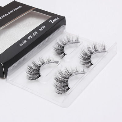 2Pairs 3D Faux Mink Natural False Eyelashes Volume Long Eye Lashes Extension