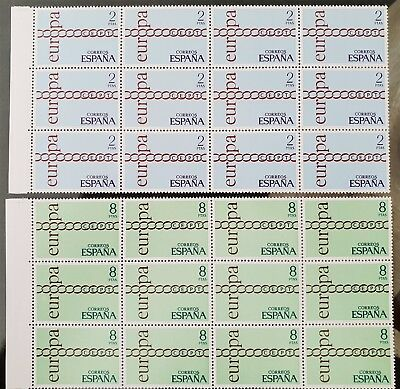 Spain 1971 Europa Blocks of 12 Sc # 1675 Sc # 1676 MNH Mint Stamps Collection