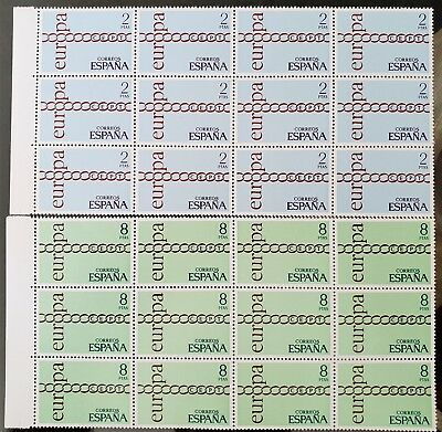 Spain 1971 Europa Blocks of 12 Sc # 1675 Sc # 1676 MNH Mint Stamps Collection #2