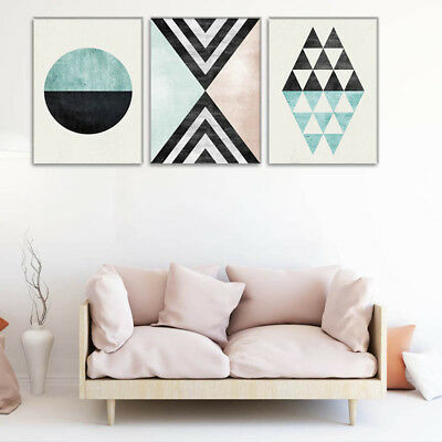 3x Abstract Geometric Wall Art Canvas Paintings Posters Prints for Home Room