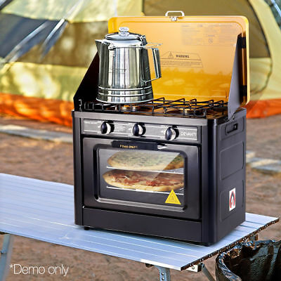 Devanti Portable Camping Cooking Oven LPG Gas 3 Burner Stove Stainless Steel AGA