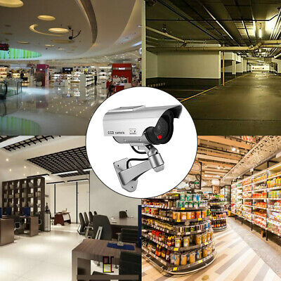 Solar Dummy Camera CCTV Security Surveillance Cam Fake Red IR LED Outdoor Indoor