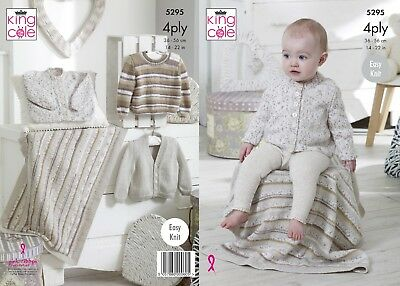 KINGCOLE 5295 BABY 4ply KNITTING PATTERN  14-22IN -not the finished garments