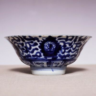 Unique Chinese Antique Early Qing Dynasty Flowers blue and white Old Bowl JZ290