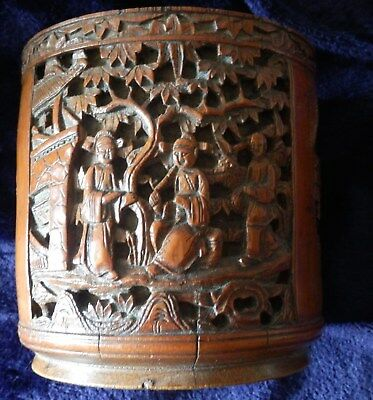 Superb antique Chinese Bamboo brush pot with intricate figure carving & phoenix