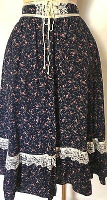 Vintage Gunnies Jessica's  Blue Floral Pink Skirt W/ Lace-Up Hippie Boho Sz  S