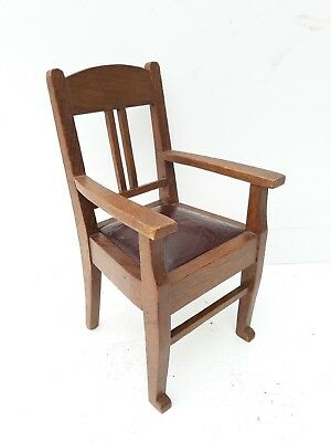 """Very Rare,Antique 11"""" Salesman sample ,chair  ,wood with leather ..antique chair"""