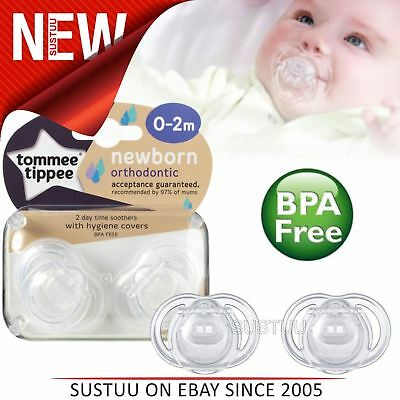 Tommee Tippee Closer to Nature Newborn Soother 0-2m 2Pk│Dummy With Hygiene Cover