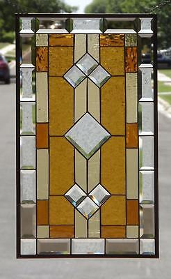 """• Classic  Amber  •Beveled Stained Glass Window Panel•≈ 28 1/2"""" x16 1/2""""(72x42cm"""