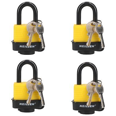 4 Keyed Alike 40mm Water Resistant Waterproof Padlocks 4 Locks 8 Keys Security