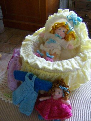 Baby-in-a-bag - 2 dolls + outfits, cradle/bedding Easy Soft Toy Knitting Pattern