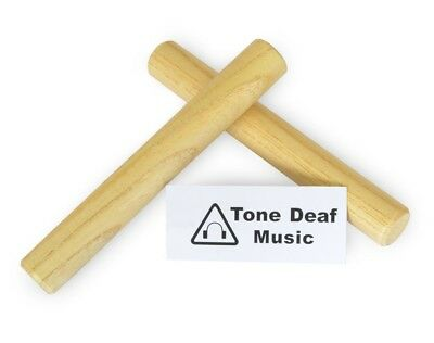 """WOODEN CLAVES - 2x 7"""" Hardwood Maple Hand Percussion Clave / rhythm stick Latin"""
