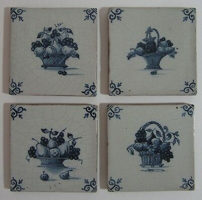 Vtg Delft Fruit Basket Tiles (4) Blue White Tin Glaze Floral Flowers