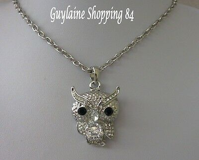 Collier Long  Metal Argente Strass Cristal Relief Hibou Chouette Chic