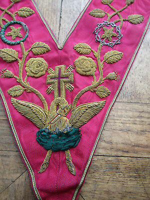 STUNNING CONDITION Superb  Antique ROSE CROIX 18th DEGREE Bullion COLLAR