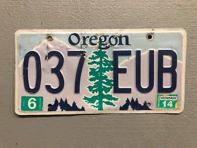 Oregon Pine Tree over Purple Mountains with Blue Sky License Plate 037-EUB
