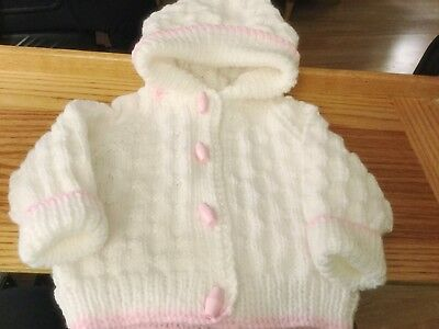 Baby Cardigan/ Jacket New Hand Knitted With Turned Back Hood 0-3 Months