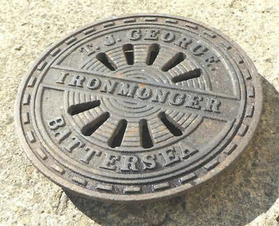 Antique cast iron coal hole cover T J GOEORGE  IRONMONGER   BATTERSEA (LondonUK)