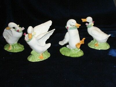 """4 Bone China Ducks -approx 3"""" in Hght -Well done! They have a lot of expression"""