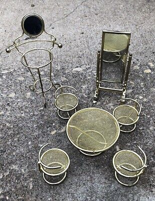 Brass Lot Of dollhouse miniature 1:12 scale Standing Mirror Table Chairs