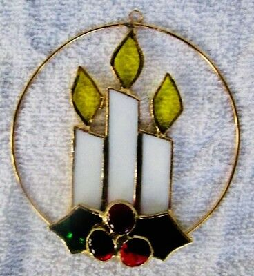 """Tiffany Stained Glass Heirloom Ornament """"Holiday Candles"""" Collectors Society"""