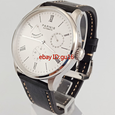 Parnis 42mm Calendar watch date power reserve seagull automatic mens watch 2470