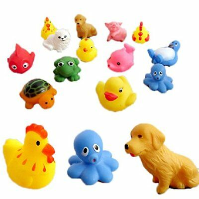 13 pcs Rubber Animals With Sound baby shower toys shower toys F7W5