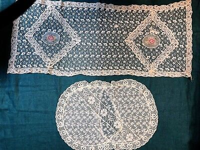 Antique Embroidered Mixed Net Lace Runner and Pillow Cover Petite Point Inserts