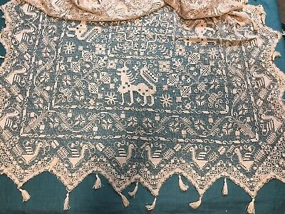 Antique Heavy Embroidered Net Lace Tablecloth with Tassels Birds Animals Flowers