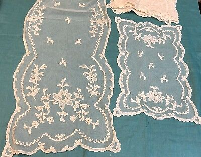 Antique Tambour Net Lace Placemats and Runner with Floral Pattern