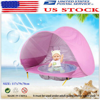 Baby Pool Tent Baby Beach Tent with Pool UV Protection Sun Shelter Infant Pink
