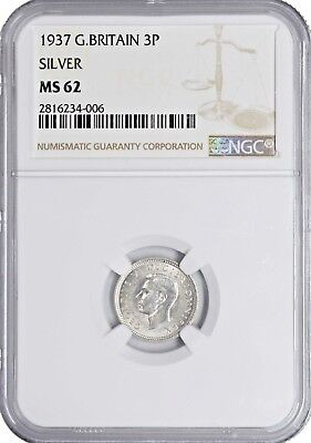 1937 MS62 Great Britain 3 Pence UNC NGC KM# 848 Silver!