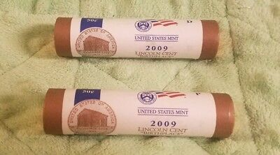 """2009 P&D Lincoln Cent Uncirculated Mint Rolls from MInt Box """"Birthplace"""" LP1"""