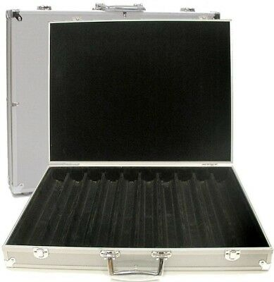 Aluminum Hard Side Poker Chip Case 1000-pc Capacity Storage Holder Box Casino