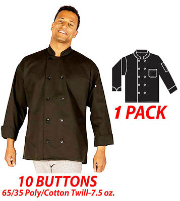 HiLite Chef Coat 10 Buttons Long Sleeve 65/35 Poly Cotton Twill 7.5 oz. 560BK