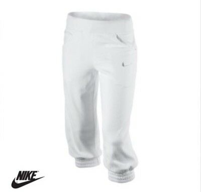 Nike Junior Girls 3/4 Fleece Pants White Cotton BNWT Perfect for Summer Holidays