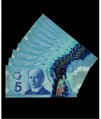 One $5 Polymer Note from the bundle. Prefix HCC. GemUNC. 2013. Canada