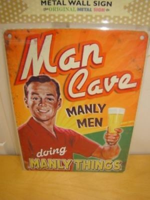 MAN CAVE METAL WALL SIGN MEN DOING MANLY THINGS RETRO HANGING PLAQUE 15 x 20cms