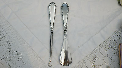Antique Engine Turned Art Deco Silver Henry Matthews 1930 Button Hook  Shoe Horn