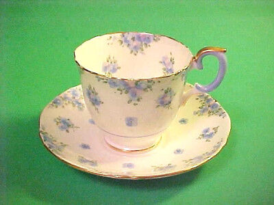 vintage CROWN STAFFORDSHIRE CUP and SAUCER ~ BLUE FLOWERS ~ gold trim