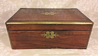 Antique Rosewood and Brass Trimmed Writing Travel Case Secret Compartment Lock
