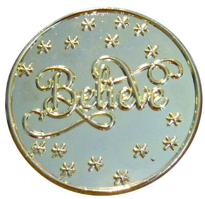 """1 3/4"""" Bright Gold """" Believe"""" Brooch For Santa's Hat"""