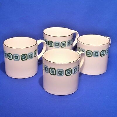 Crown Staffordshire Manhattan 4 x Coffee Cups - Vintage 1930s Cans