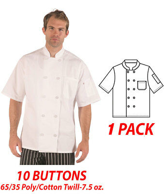 Item: 540WH, 10 Buttons, Chef Coat, Short Sleeve, 65/35 Poly/Cotton Twill-7.5 oz