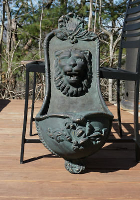 Vintage Antique Cast Iron Lion Head Wall Lavabo Planter Fountain