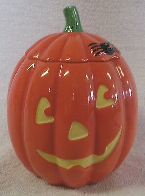 "Vintage Holloween--Jack O' Lantern Candy Jar--7"" Tall--Very Nice & Collectible!"