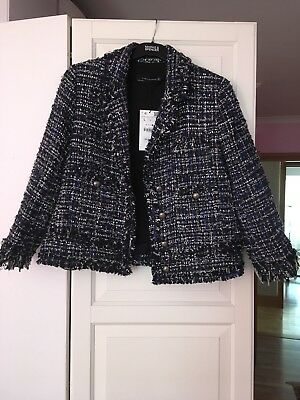 ZARA Tweed Frayed Jacket Frayed Fringed Blazer Silver Buttons Blue BNWT Size L